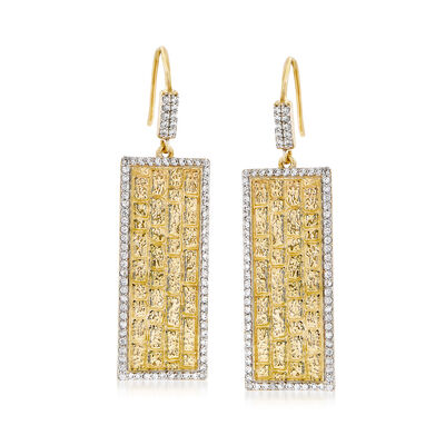2.30 ct. t.w. White Zircon 18kt Yellow Gold Over Sterling Drop Earrings, , default
