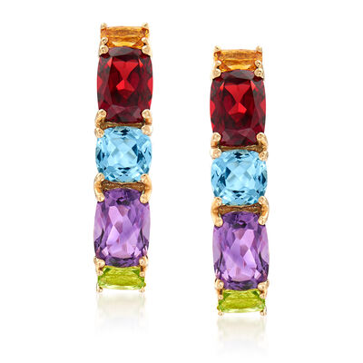 6.30 ct. t.w. Multi-Gemstone Drop Earrings in 14kt Yellow Gold, , default
