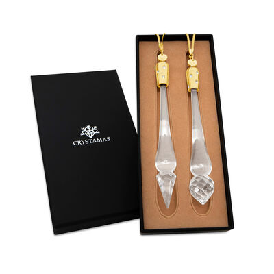 Crystamas Set of 2 Swarovski Crystal 24kt Gold-Plated Icicles , , default