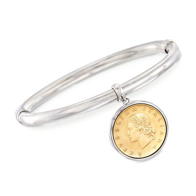 Italian Genuine Lira Coin Charm Bangle Bracelet in Sterling Silver, , default