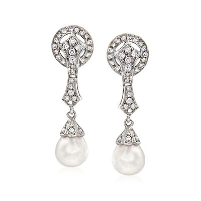 C. 1980 Vintage 9x7mm Cultured Pearl and .40 ct. t.w. Diamond Drop Earrings in 14kt White Gold