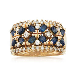 C. 1970 Vintage 1.10 ct. t.w. Marquise Sapphire and .50 ct. t.w. Diamond Ring in 14kt Yellow Gold, , default