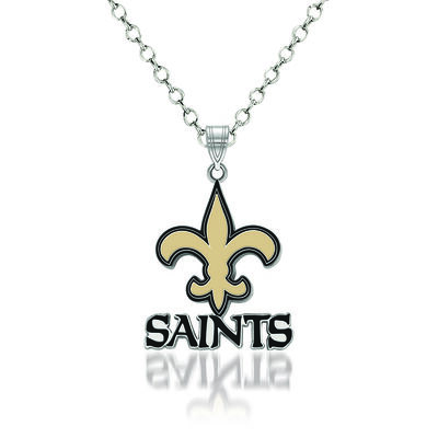 "Sterling Silver NFL New Orleans Saints Enamel Pendant Necklace. 18"""