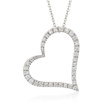 """Roberto Coin .22 ct. t.w. Diamond Heart Pendant Necklace in 18kt White Gold. 16"""", , default"""
