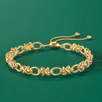 14kt Yellow Gold XO Bolo Bracelet, , default