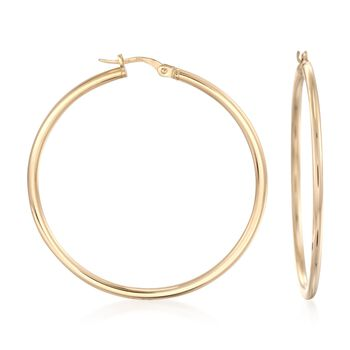 "Roberto Coin 18kt Yellow Gold Hoop Earrings. 1 3/4"", , default"