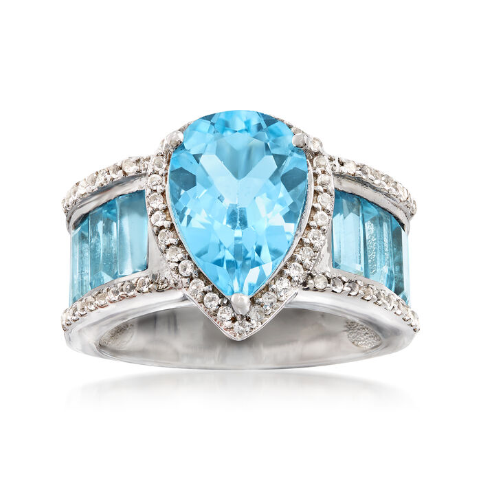 8.00 ct. t.w. Blue and White Topaz Ring in Sterling Silver, , default