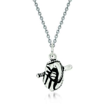 "Sterling Silver Antiqued Baseball Glove Bat Charm Necklace. 18"""