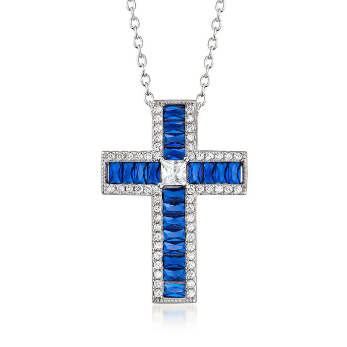 """.40 ct. t.w. Simulated Sapphire and .40 ct. t.w. CZ Cross Pendant Necklace in Sterling Silver. 18"""""""