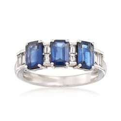 1.80 ct. t.w. Sapphire and .30 ct. t.w. Diamond Ring in 14kt White Gold, , default