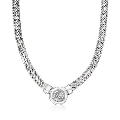 C. 1980 Vintage .60 ct. t.w. Diamond Cluster Link Necklace in 14kt White Gold