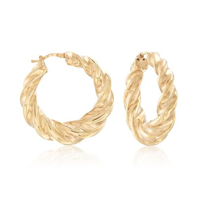 Italian 18kt Yellow Gold Graduated Twisted Hoop Earrings, , default