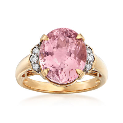 7.90 Carat Pink Tourmaline and .12 ct. t.w. Diamond Ring in 18kt Yellow Gold