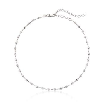 "Sterling Silver Beaded Choker Necklace. 12"", , default"