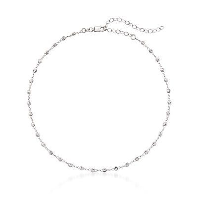 Sterling Silver Beaded Choker Necklace, , default