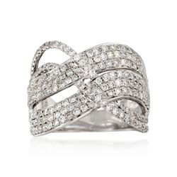 2.25 ct. t.w. Wavy Diamond Crossover Ring in 14kt White Gold, , default