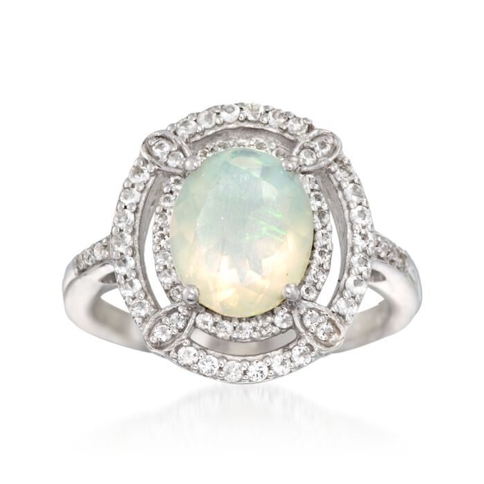 Opal and .20 ct. t.w. White Topaz Ring in Sterling Silver, , default