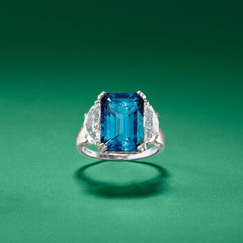 9.60 ct. t.w. Blue and White Topaz Ring in Sterling Silver, , default