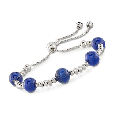 7.5-8mm Lapis Bead Bolo Bracelet in Sterling Silver, , default