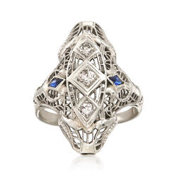 C. 1950 Vintage .18 ct. t.w. Diamond Filigree Ring With Sapphire Accents in 18kt White Gold, , default