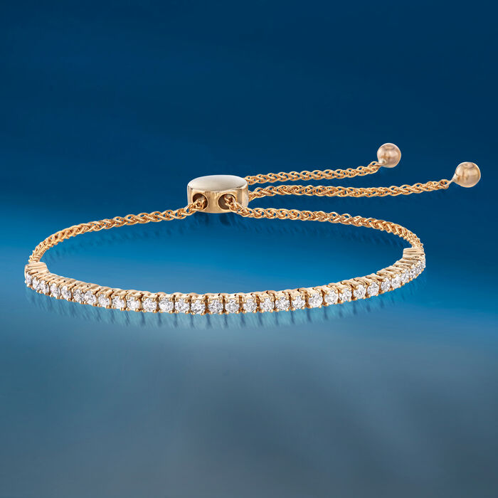 1.00 ct. t.w. Diamond Bolo Bracelet in 14kt Yellow Gold