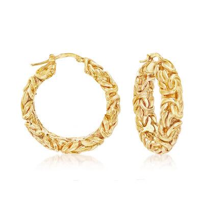 Italian 18kt Yellow Gold Large Byzantine Hoop Earrings, , default