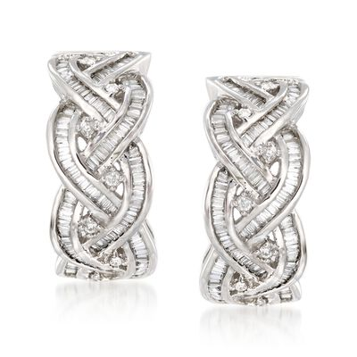 .75 ct. t.w. Round and Baguette Diamond Braided Hoop Earrings in 14kt White Gold, , default