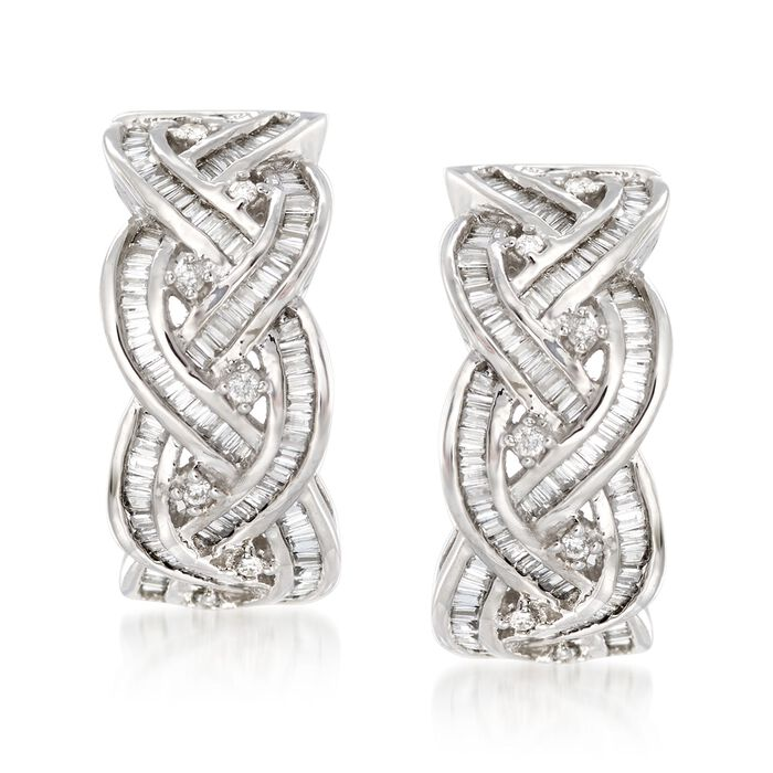 .75 ct. t.w. Round and Baguette Diamond Braided Hoop Earrings in 14kt White Gold. 5/8""