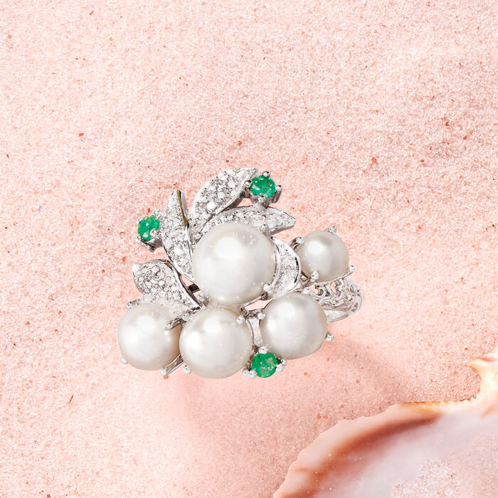 Cultured Pearl and Diamond Cluster Ring with Emeralds in Sterling Silver