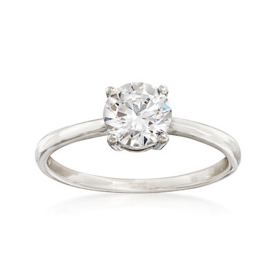1.00 Carat CZ Solitaire Ring in 14kt White Gold, , default
