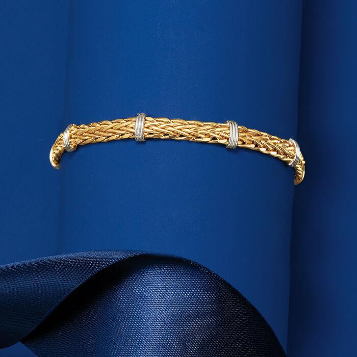 14kt Two-Tone Gold Wheat Link and Bar Station Bracelet