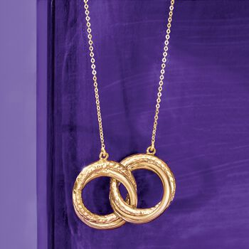 Italian 18kt Yellow Gold Textured and Polished Open Eternity Circles Necklace, , default