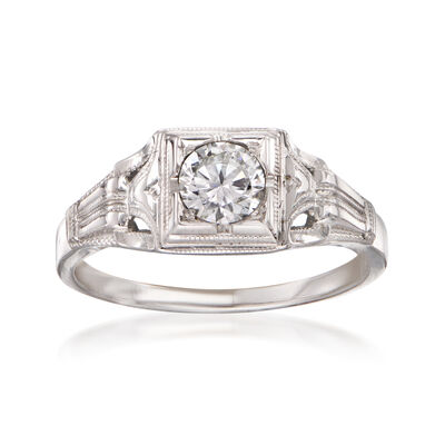 C. 1980 Vintage .35 Carat Diamond Ring in 18kt White Gold