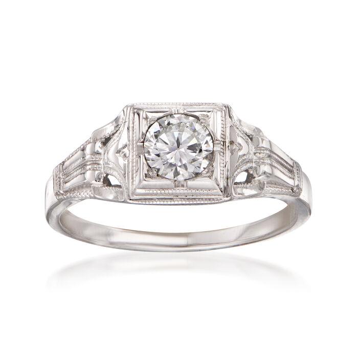 C. 1980 Vintage .35 Carat Diamond Ring in 18kt White Gold. Size 5.5, , default