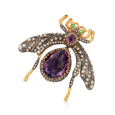 C. 1960 Vintage 14.55 ct. t.w. Multi-Gem and 1.75 ct. t.w. Diamond Fly Pin/Pendant in Two-Tone Sterling Silver