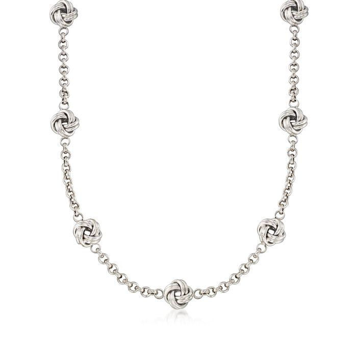 Italian Sterling Silver Love Knot Station Necklace, , default