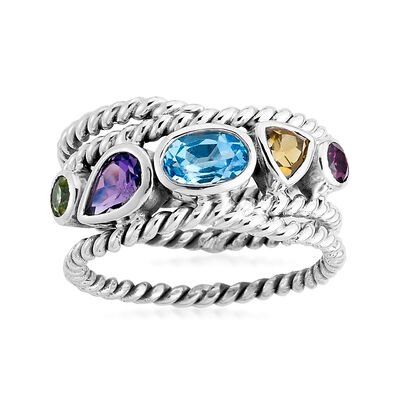 1.20 ct. t.w. Multi-Gemstone Open-Space Rope Ring in Sterling Silver, , default