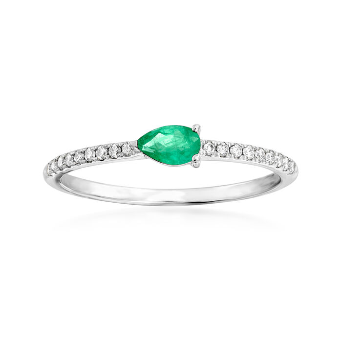 .20 Carat Emerald and .10 ct. t.w. Diamond Ring in 18kt White Gold. Size 7, , default