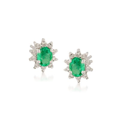 .60 ct. t.w. Emerald and .20 ct. t.w. Diamond Earrings in 14kt White Gold, , default