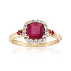 Ruby and .25 ct. t.w. Diamond Ring in 14kt Yellow Gold, , default