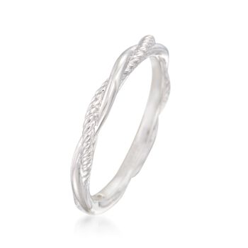 Gabriel Designs 14kt White Gold Twisted Wedding Ring, , default