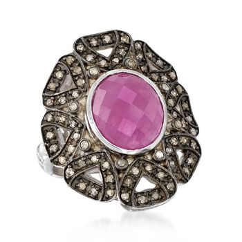 6.50 Carat Opaque Pink Sapphire and .64 ct. t.w. Diamond Ring in Sterling Silver, , default