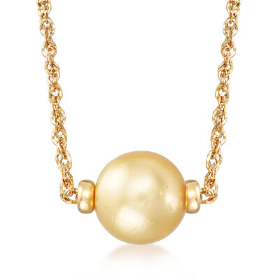 11-11.5mm Golden Cultured South Sea Pearl Necklace in 14kt Yellow Gold, , default