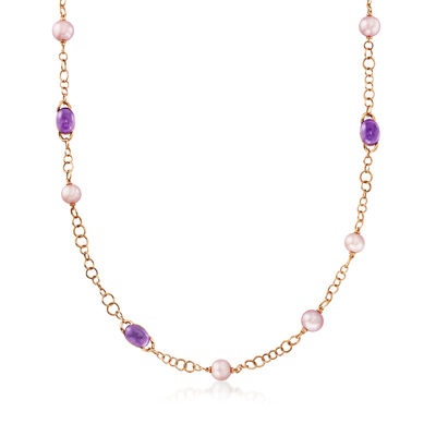 C. 1990 Vintage Mimi Milano 9-10mm Violet Cultured Pearl and 48.00 ct. t.w. Amethyst Link Necklace in 18kt Yellow Gold