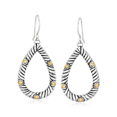 Oxidized Sterling Silver and 18kt Yellow Gold Open-Space Roped Teardrop Earrings, , default