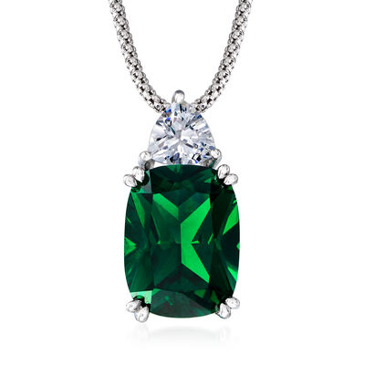 12.70 Carat Simulated Emerald and 1.20 Carat CZ Necklace in Sterling Silver, , default