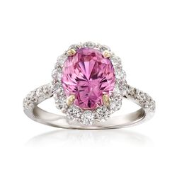 C. 2000 Vintage 3.89 Carat Pink Sapphire and .88 ct. t.w. Diamond Ring in 18kt White Gold. Size 6.75, , default