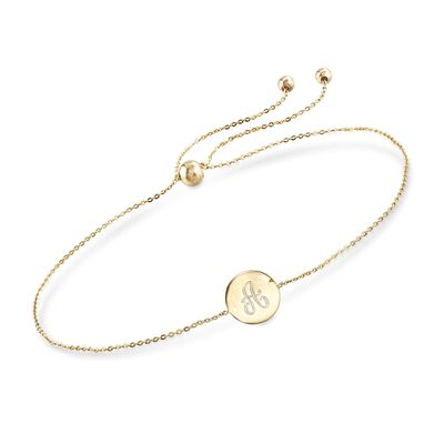 14kt Yellow Gold Single Initial Circle Disc Bolo Bracelet, , default