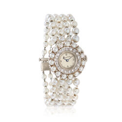 C. 1930 Vintage Lucien Piccard Cultured Pearl and .65 ct. t.w. Diamond Watch in 14kt White Gold, , default