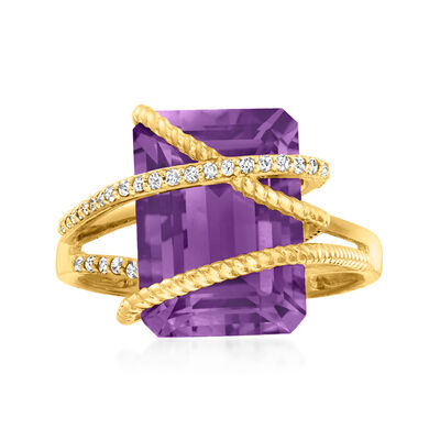 6.50 Carat Amethyst and .15 ct. t.w. Diamond Ring in 14kt Yellow Gold